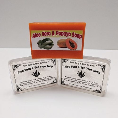 Aloe Vera with Papaya and Tea Tree Soap. Pack of 3